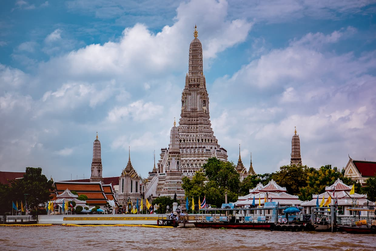The view of Wat Arun from the Ferry.