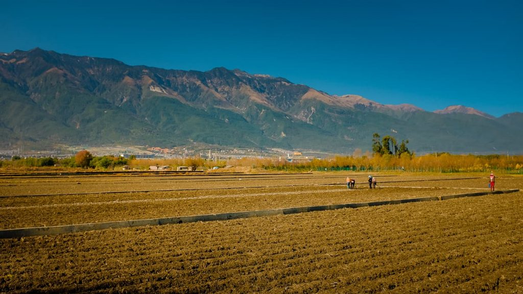 Farms in front of the Cangshan mountains in Dali, China.