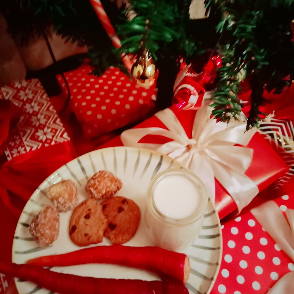 Milk and cookies under the Christmas tree.