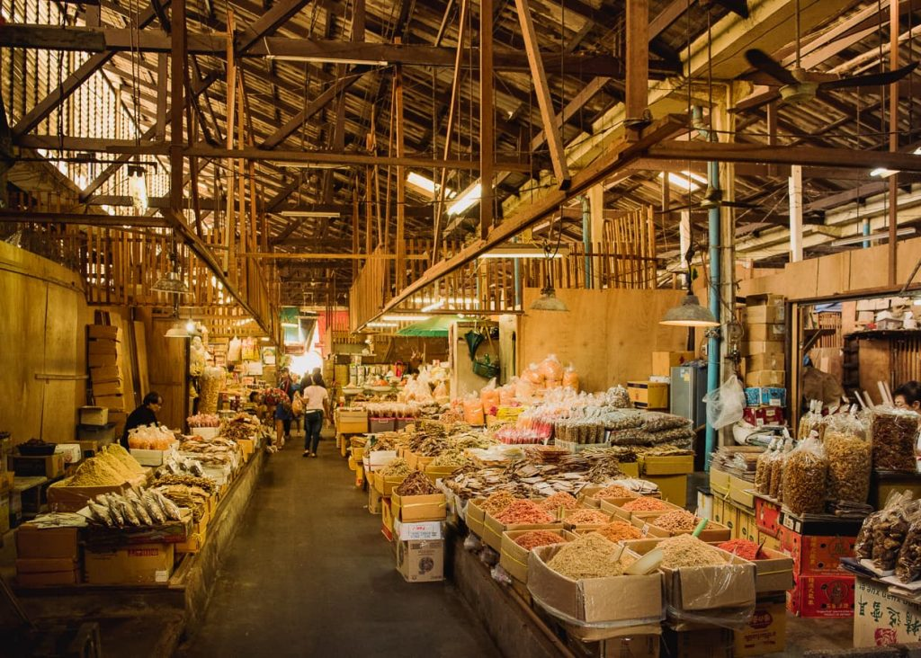 A dried fish market in Bangkok, Thailand.