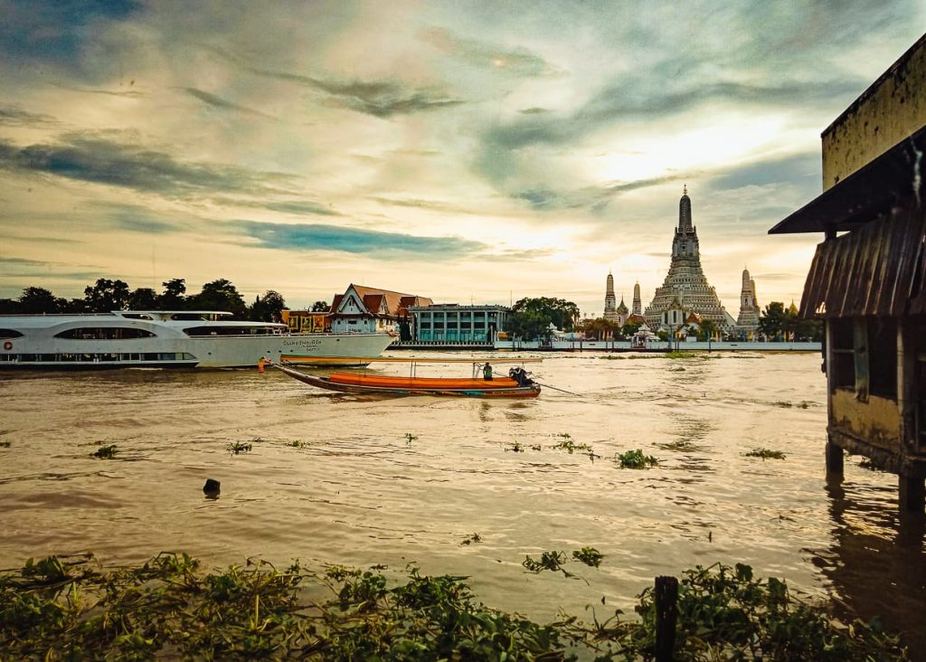 Wat Arun and the Chao Phraya River in Bangkok, Thailand