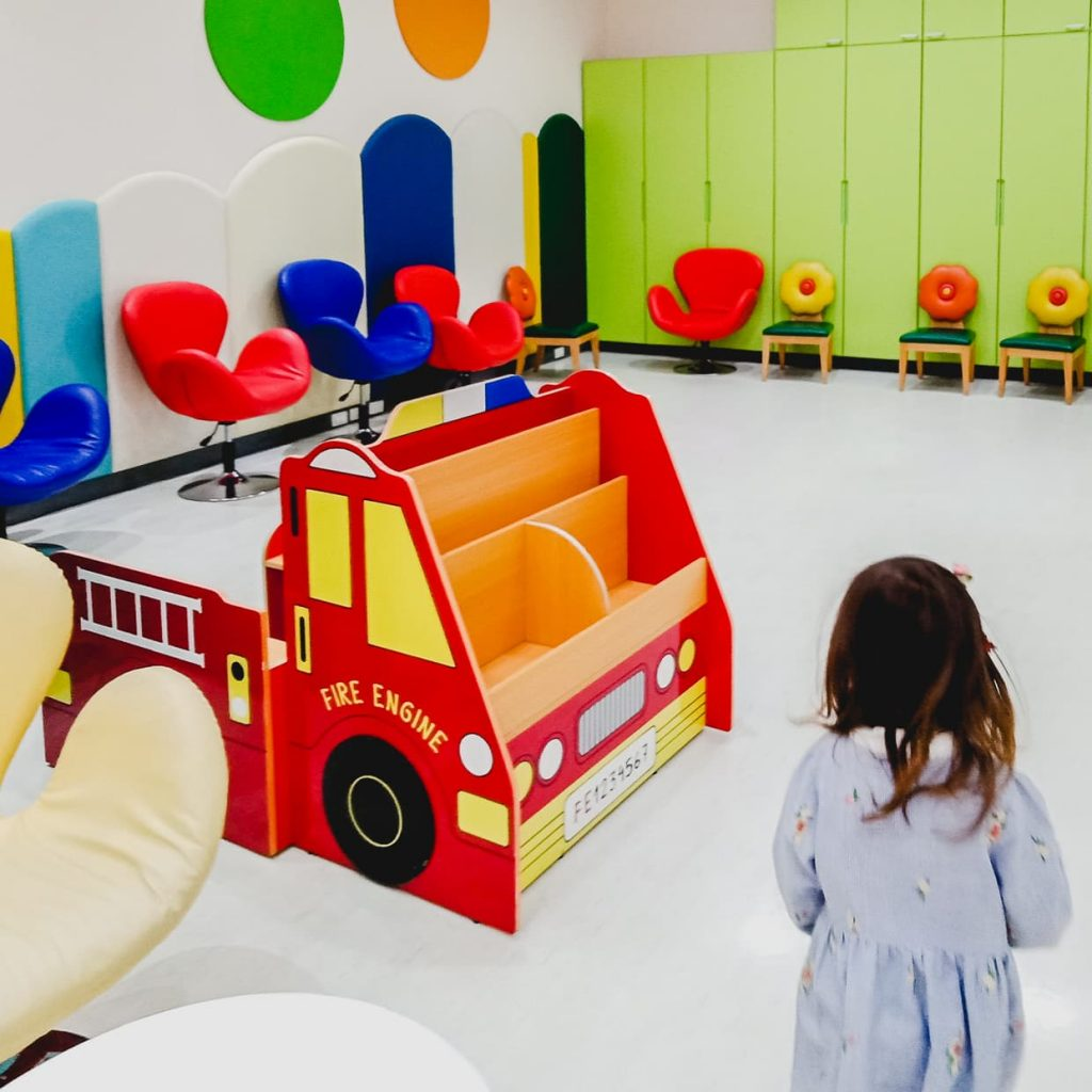 Fire truck in hospital play area. Chiang Mai, Thailand.