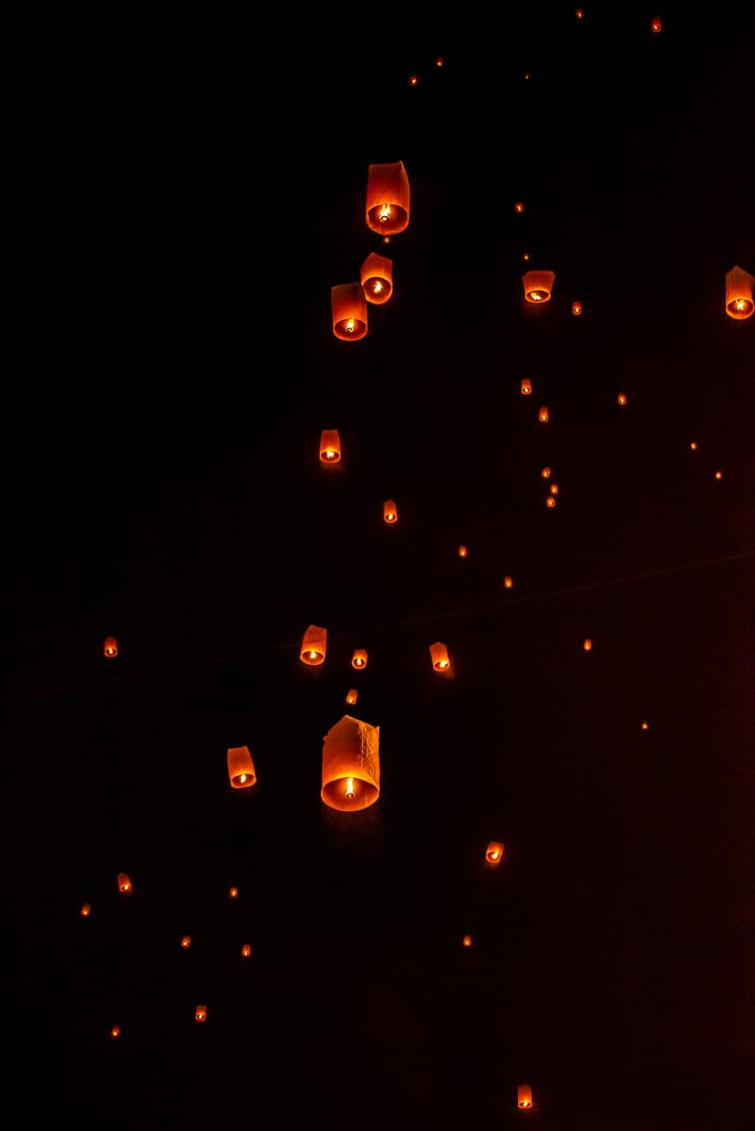 Lanterns filling the sky over Chiang Mai, Thailand.