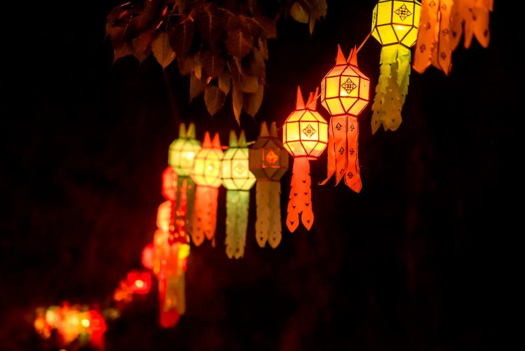 A rope of lanterns hanging in Chiang Mai, Thailand.