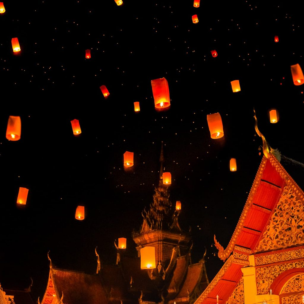 Lanterns over Wat Buppharam during the Chiang Mai Lantern Festival.