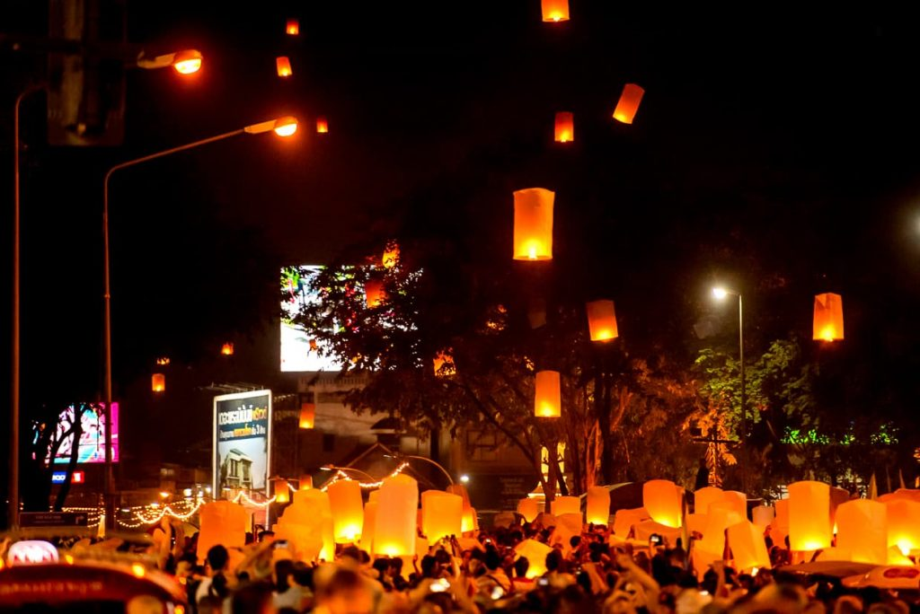 People sending off lanterns during the Chiang Mai Lantern Festival.