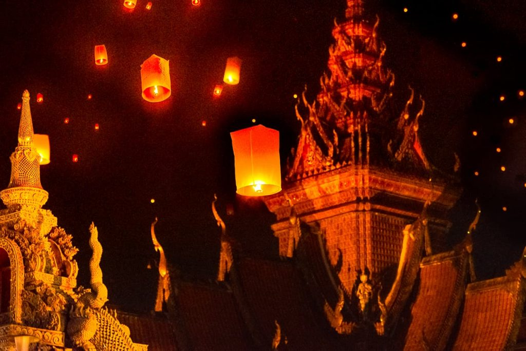 Lanterns over Wat Buppharam on Thaphae road.