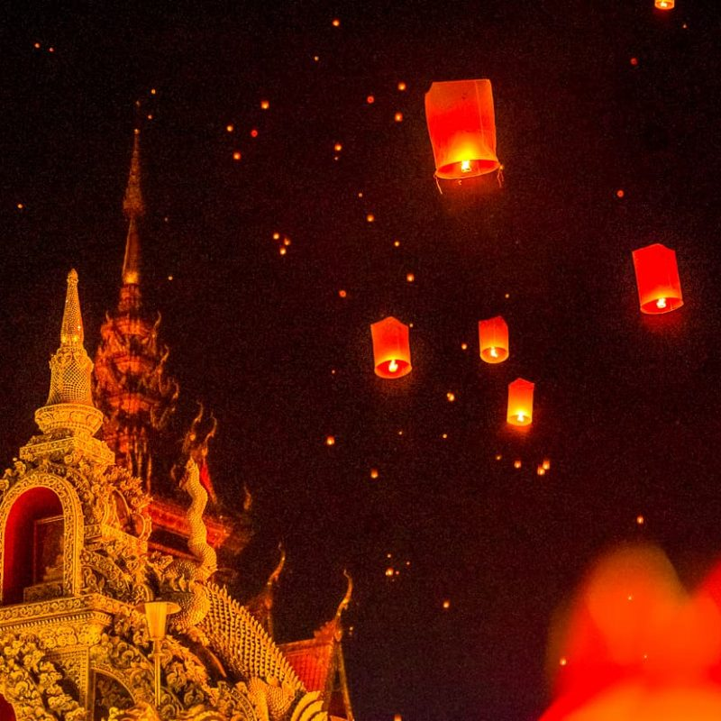 The rooftop of wat buppharam in Chiang Mai, Thailand lantern festival.