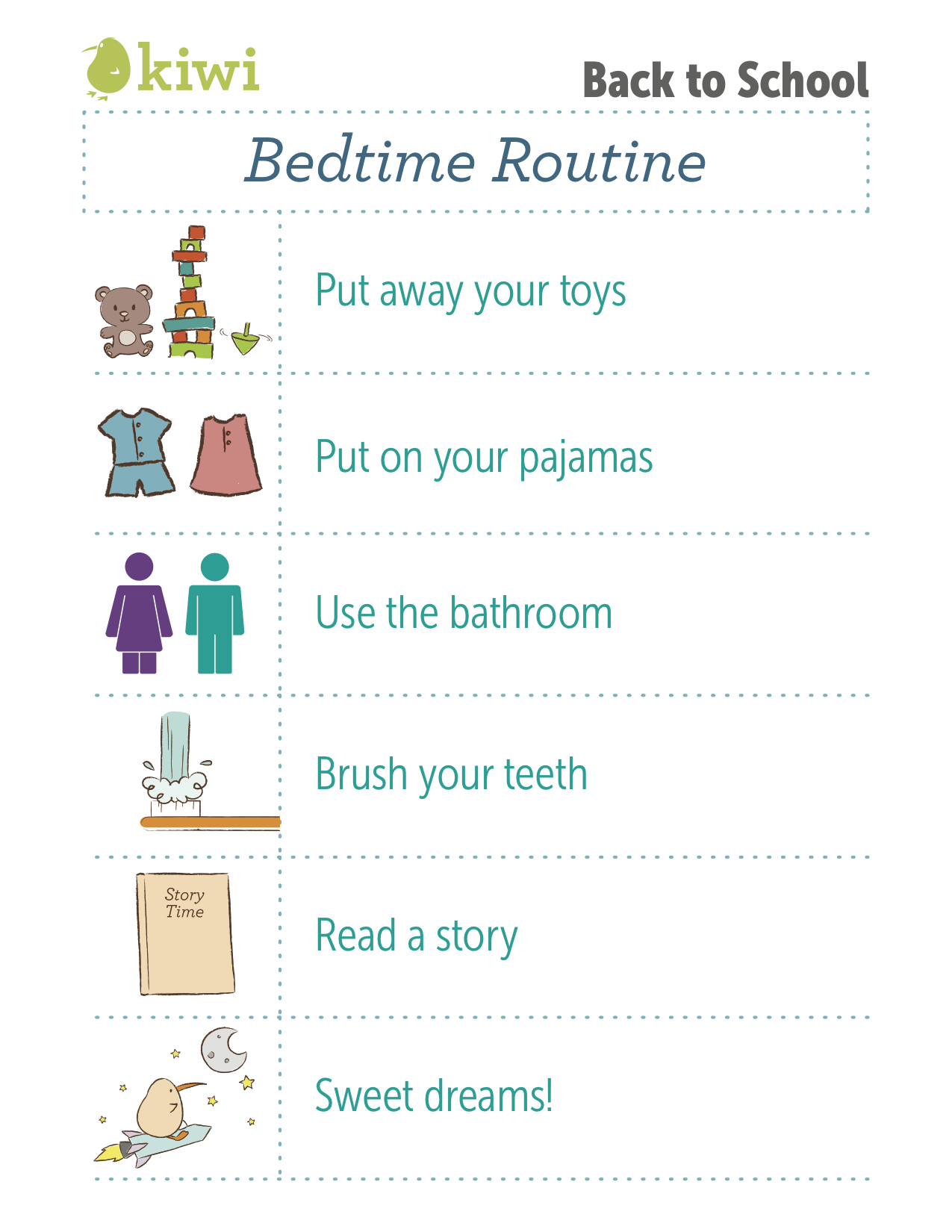 image regarding Bedtime Routine Chart Printable identified as Back again In the direction of University Printable Workout routines I Kiwi Crate