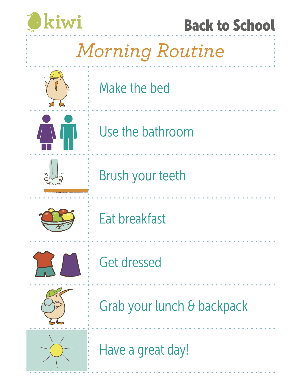 photo regarding Children's Routine Charts Free Printable named Again In direction of University Printable Exercises I Kiwi Crate