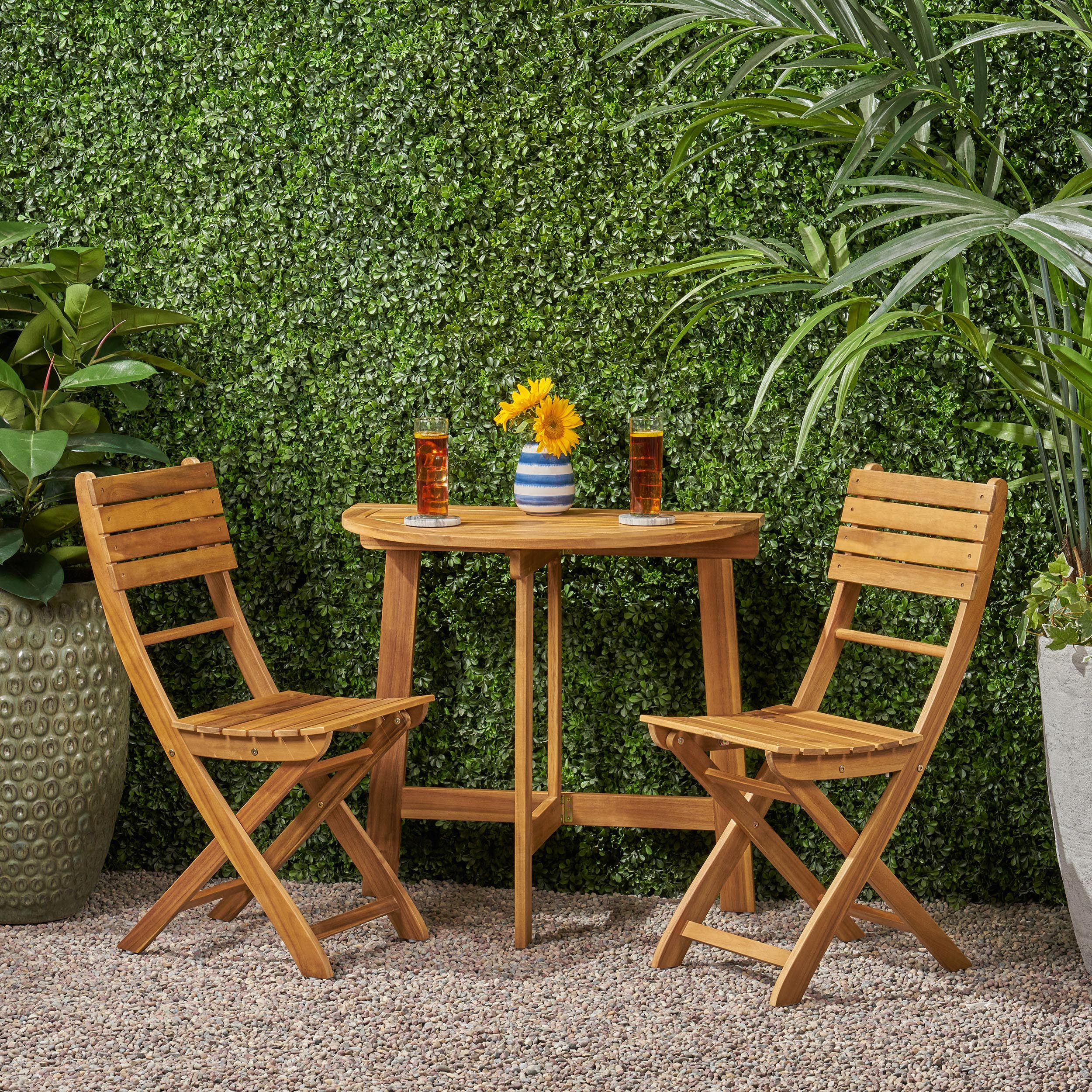 Sophia Outdoor 9 Seater Half-Round Acacia Wood Bistro Table Set with  Folding Cha