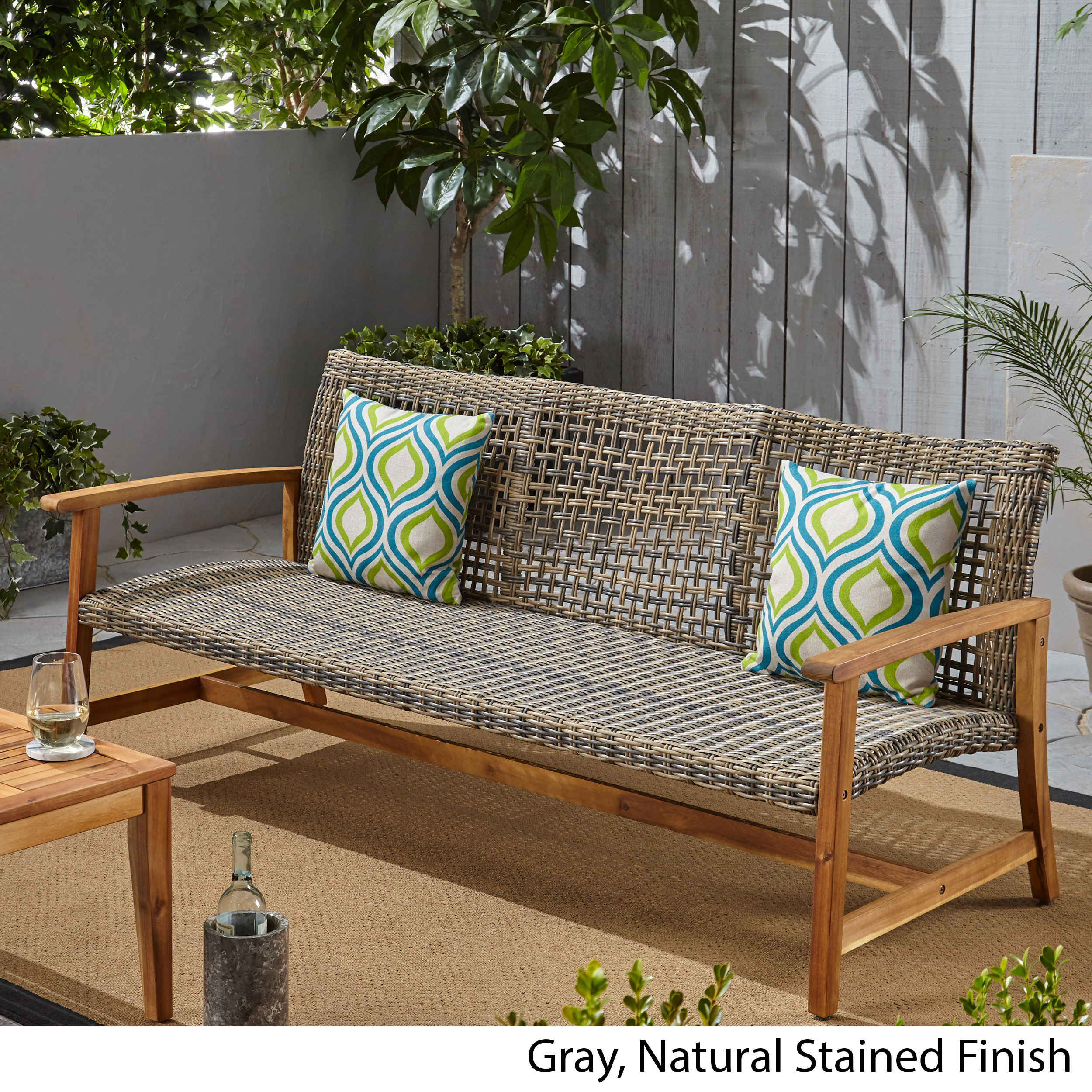 Details about Marcia Outdoor 3-Seater Wicker Weave Sofa with Acacia Wood  Frame