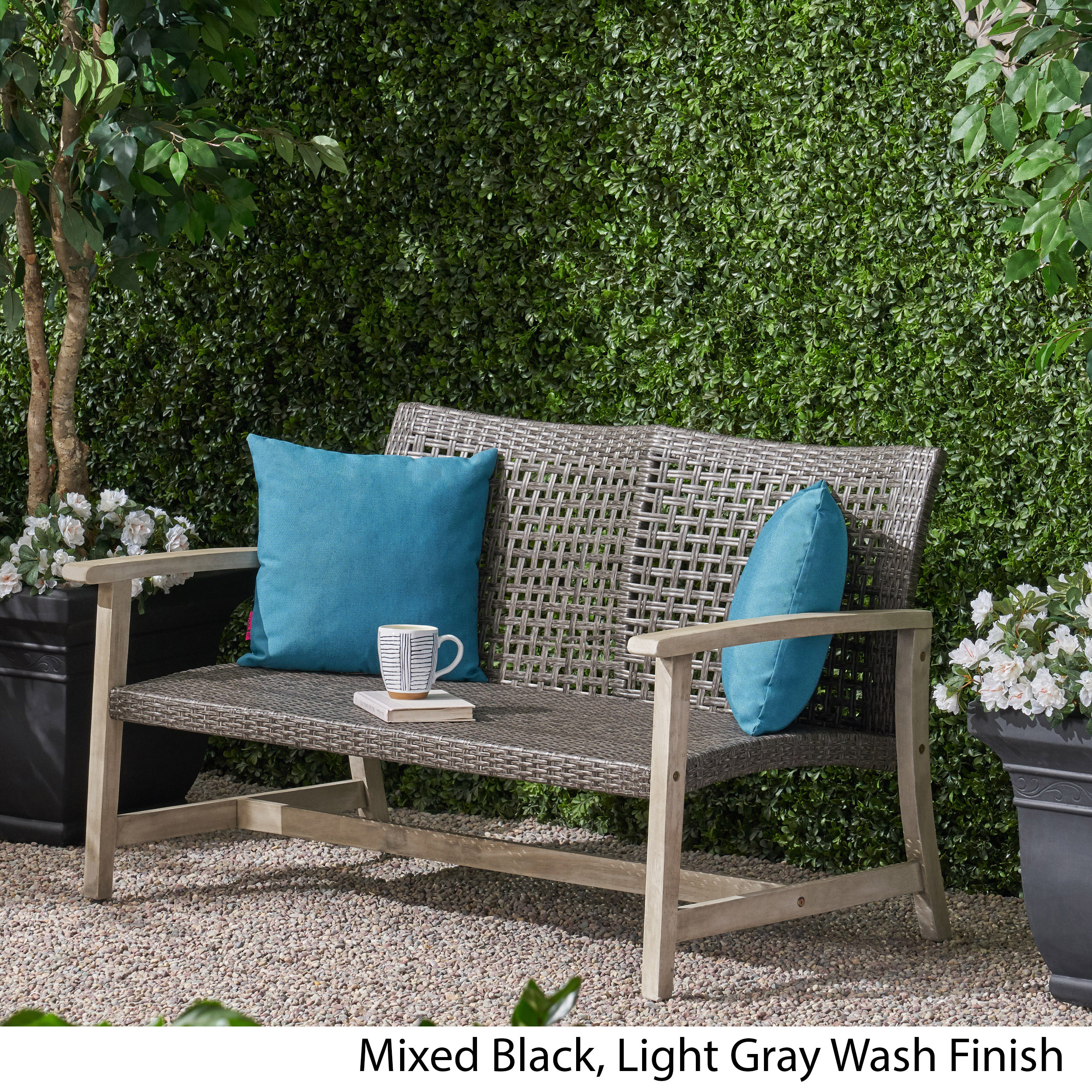 Groovy Details About Marcia Outdoor Wood And Wicker Loveseat Alphanode Cool Chair Designs And Ideas Alphanodeonline