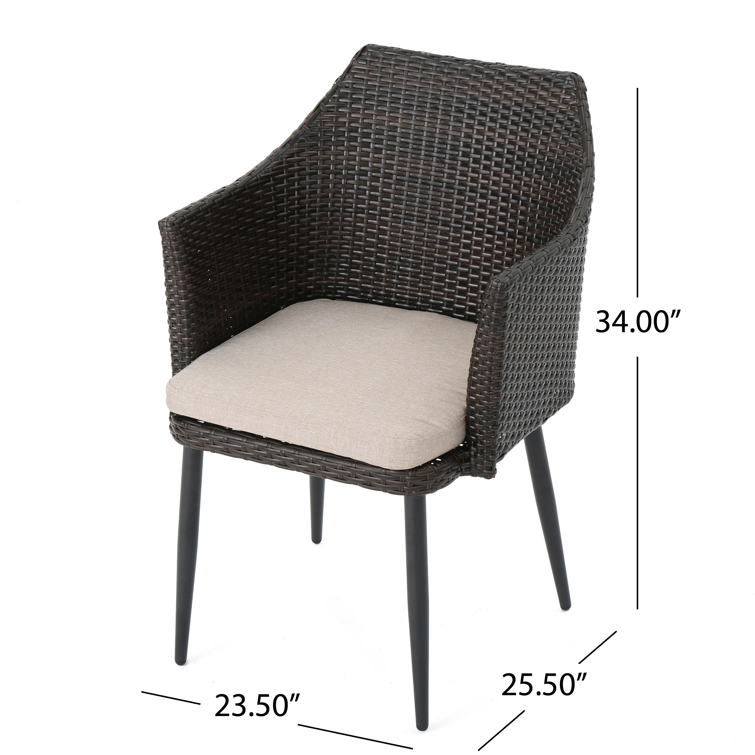 Ibiza-Outdoor-Wicker-Dining-Chairs-with-Water-Resistant-Cushion-Set-of-2 thumbnail 11