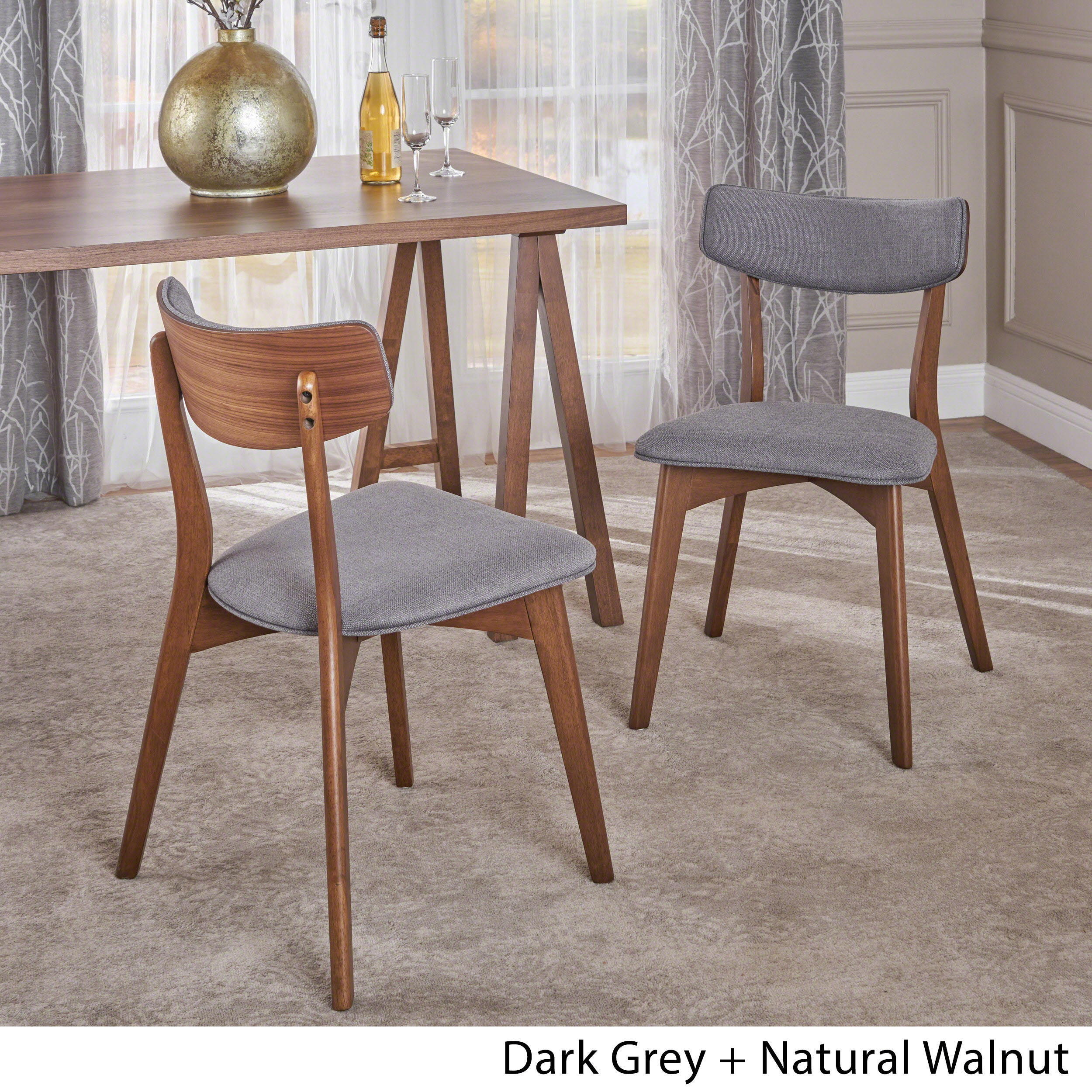 Molly Mid Century Modern Fabric Dining Chairs with Rubberwood Frame (Set of  10)