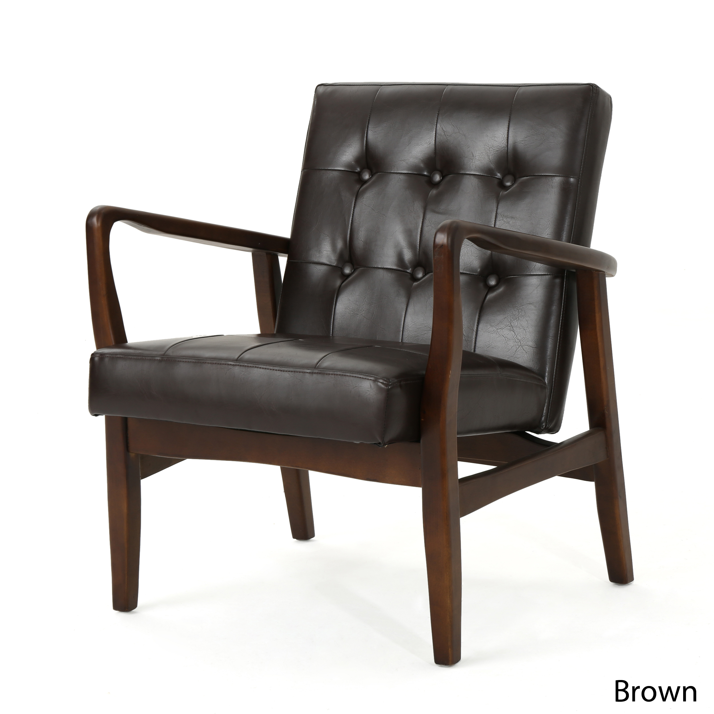 Details about Marcola Mid Century Modern Faux Leather Club Chair with Wood  Frame