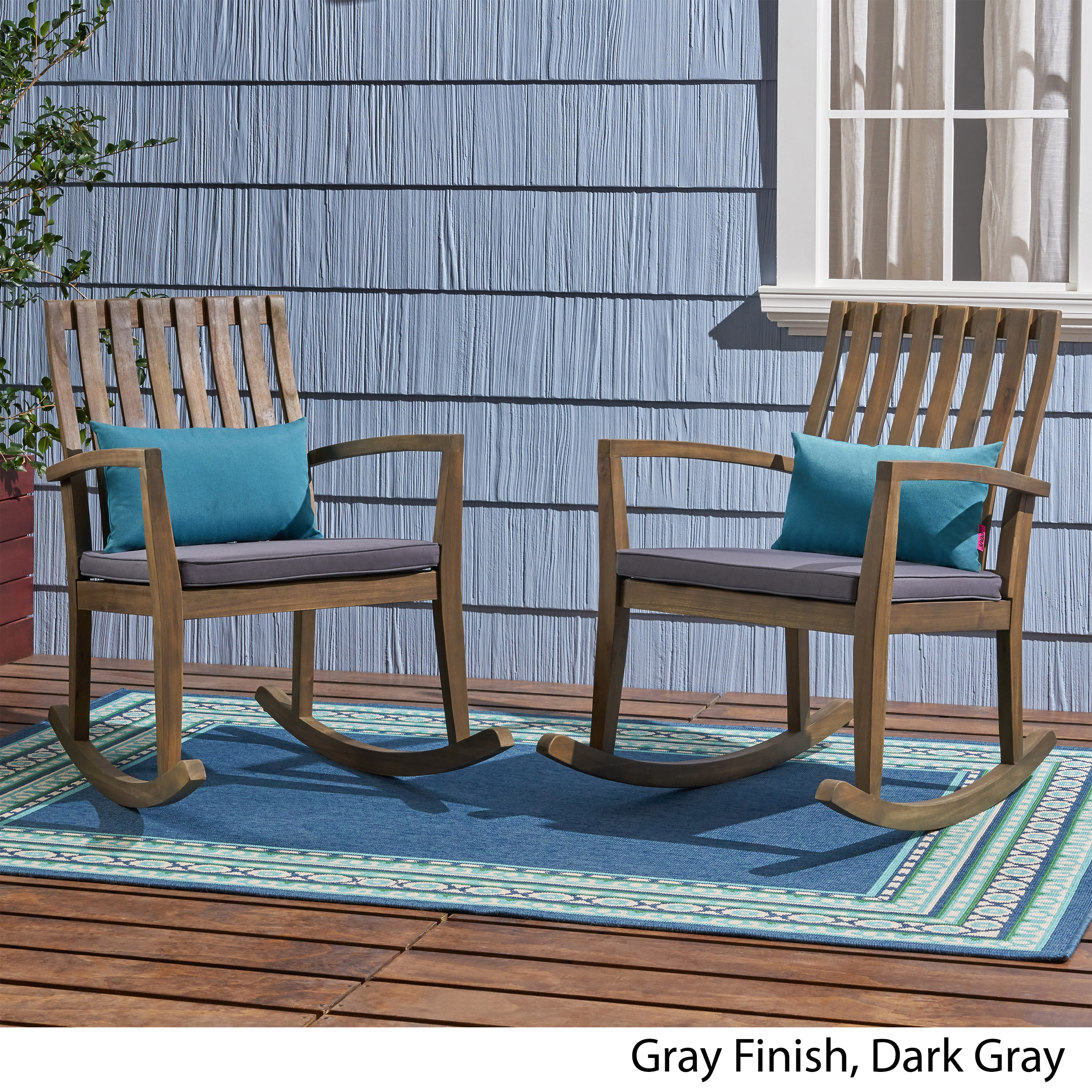 Admirable Colmena Outdoor Acacia Wood Rocking Chair With Cushions Set Of 2 Ibusinesslaw Wood Chair Design Ideas Ibusinesslaworg