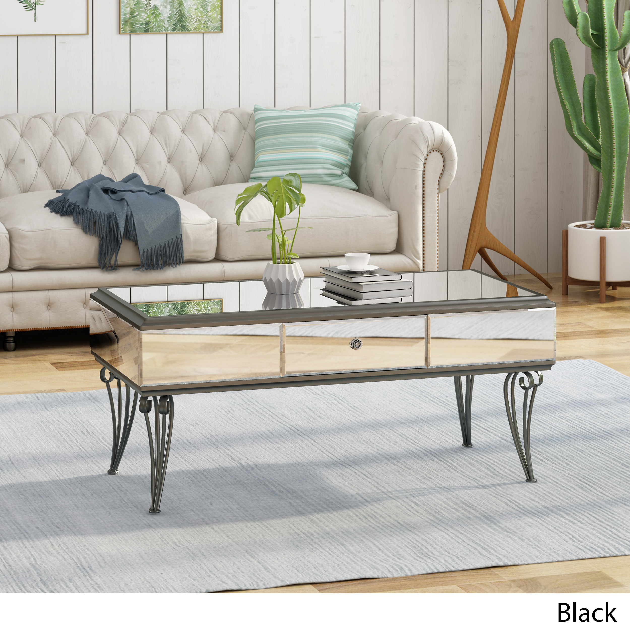 Details About Ophelia Modern Mirrored Coffee Table With Drawer Tempered Glass
