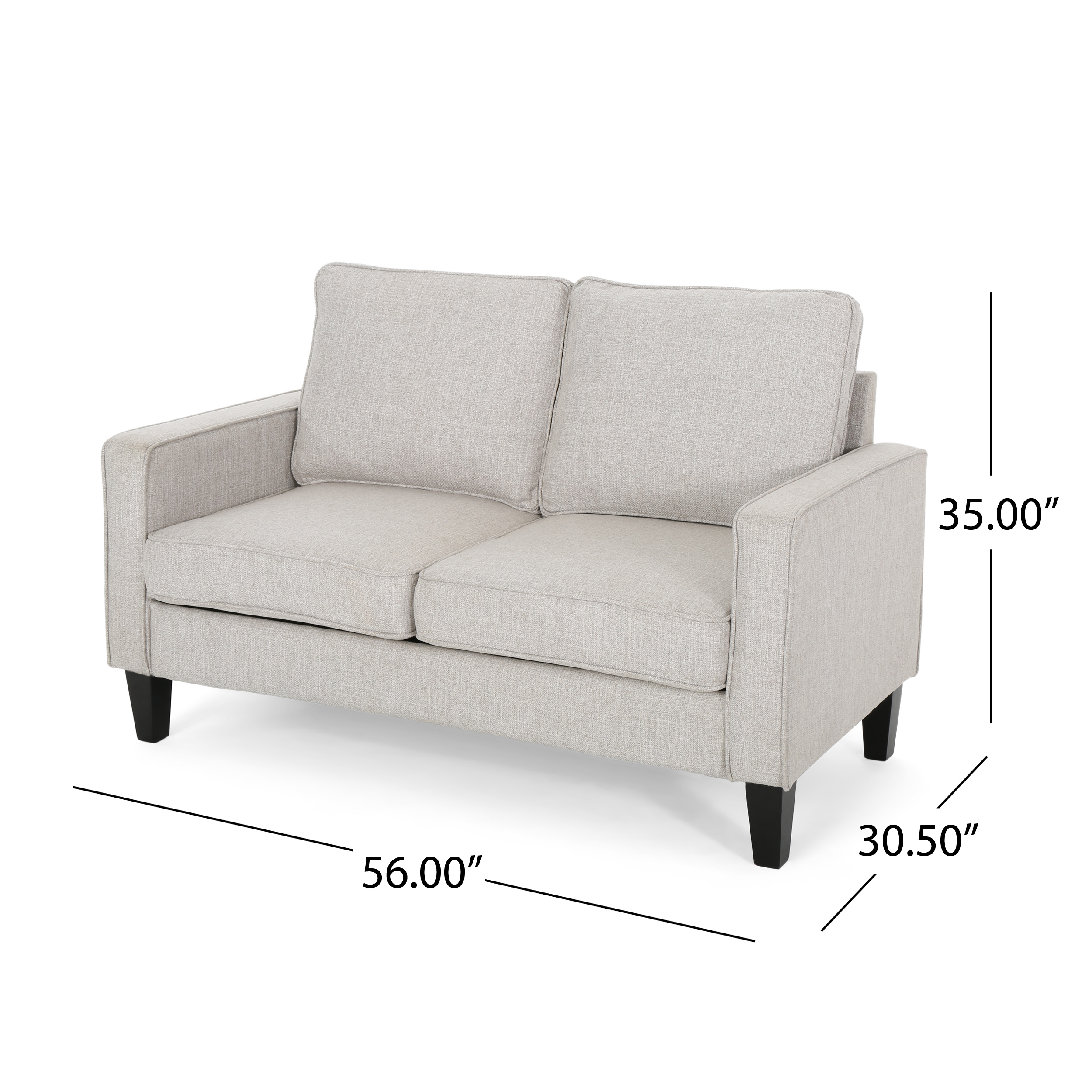 Ophelia Contemporary Upholstered Fabric Loveseat With Tonal Piping