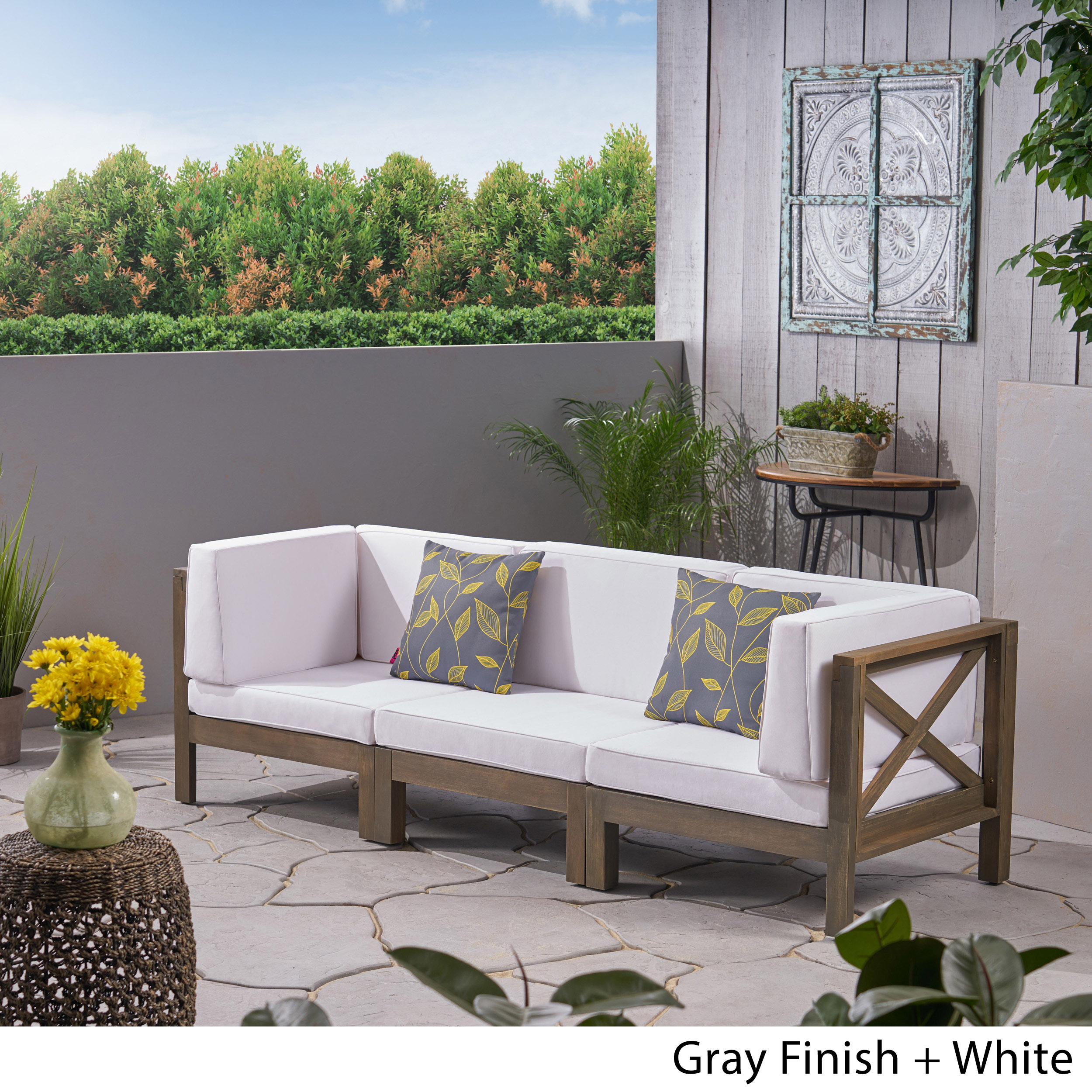Details about Great Deal Furniture Keith Outdoor Sectional Sofa Set  3-Seater Acacia Wood Wa