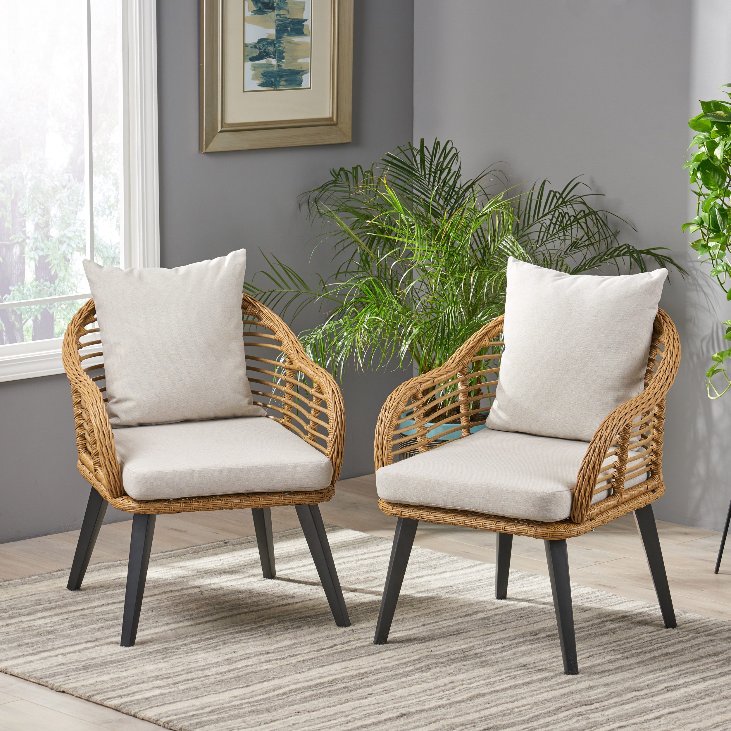 Details About Becky Indoor Wicker Club Chairs With Cushions Set Of 2