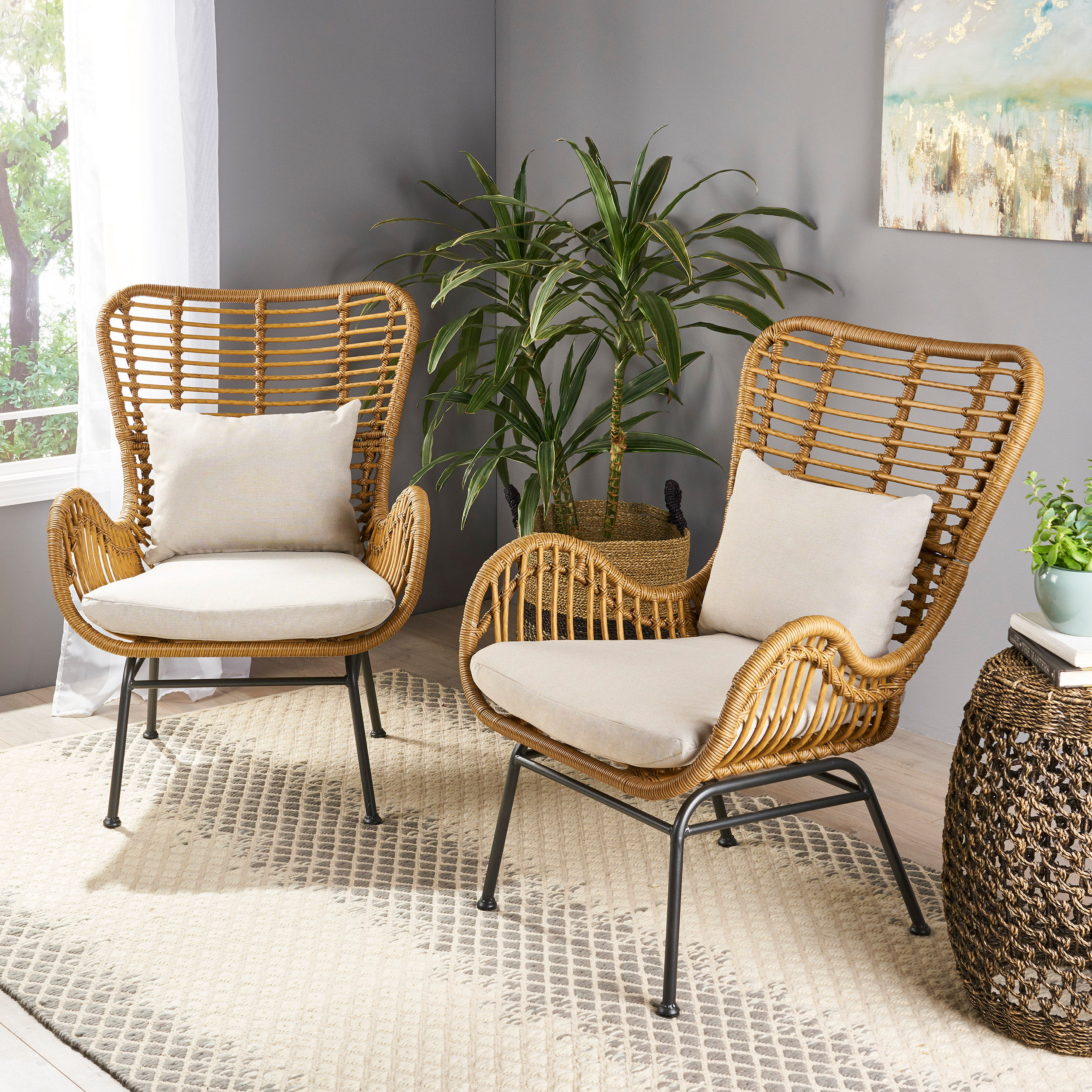 Picture of: Gloria Indoor Wicker Club Chairs With Cushions Set Of 2 Ebay