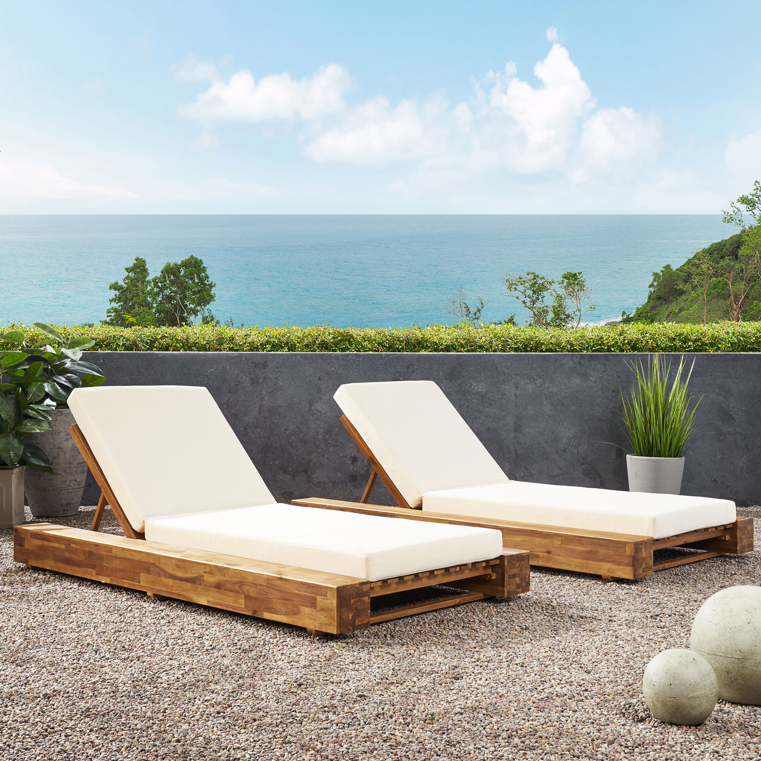 - Ursula Outdoor Acacia Wood Chaise Lounge And Cushion Sets (Set Of