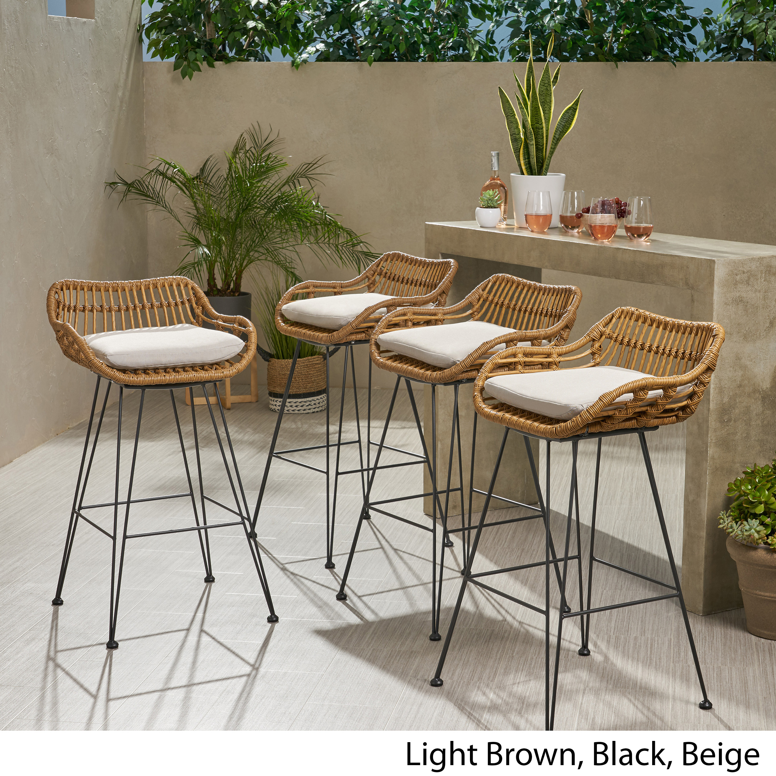 Image of: Candance Outdoor Wicker Barstools With Cushions Set Of 4 Ebay