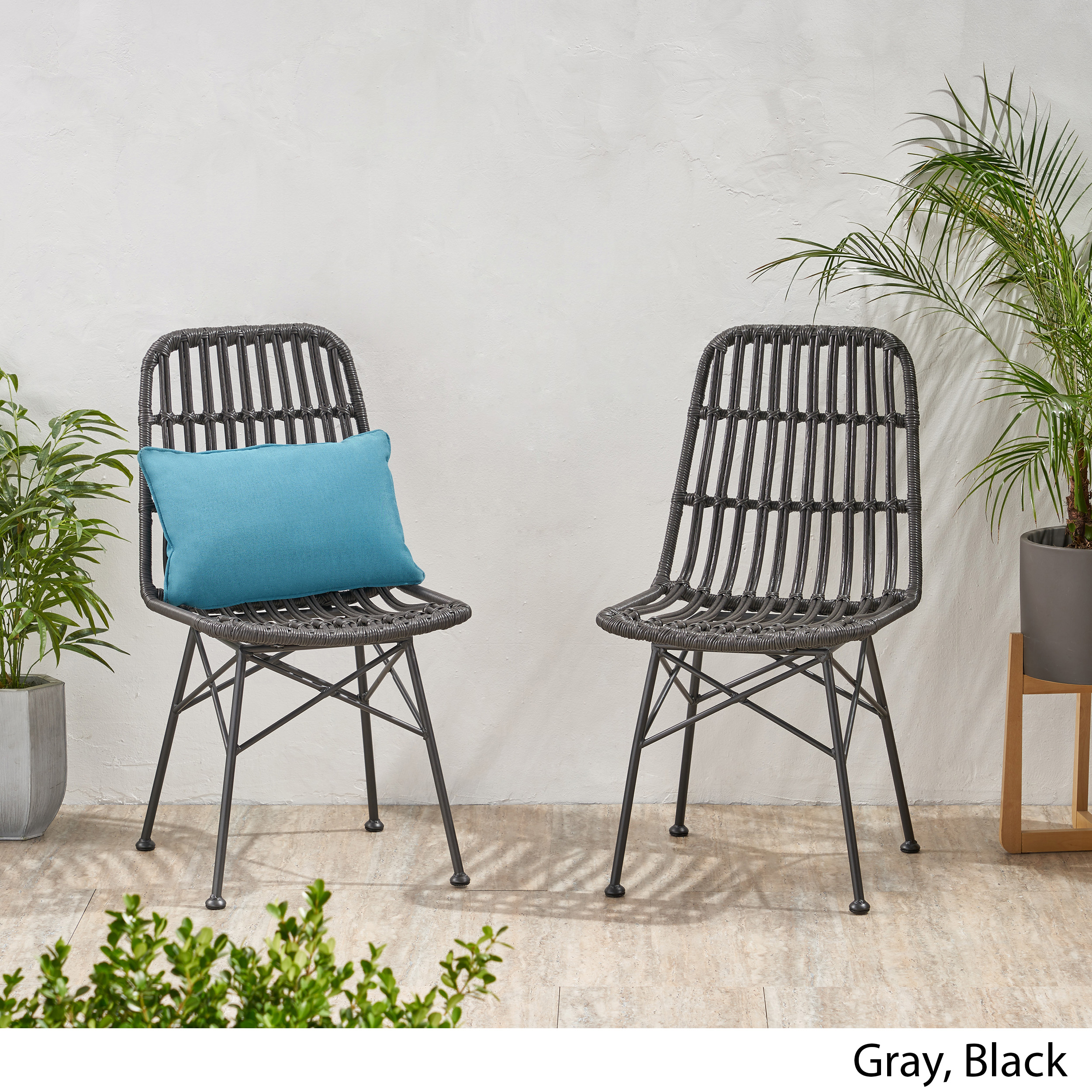 Details about Yilia Outdoor Wicker Dining Chair (Set of 2)