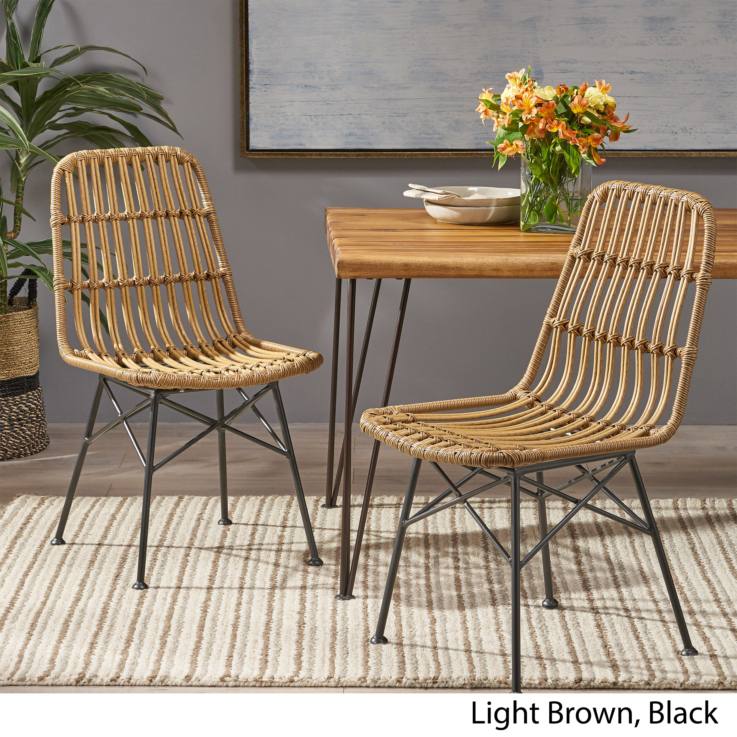 Picture of: Silverdew Indoor Wicker Dining Chairs Set Of 2 Ebay
