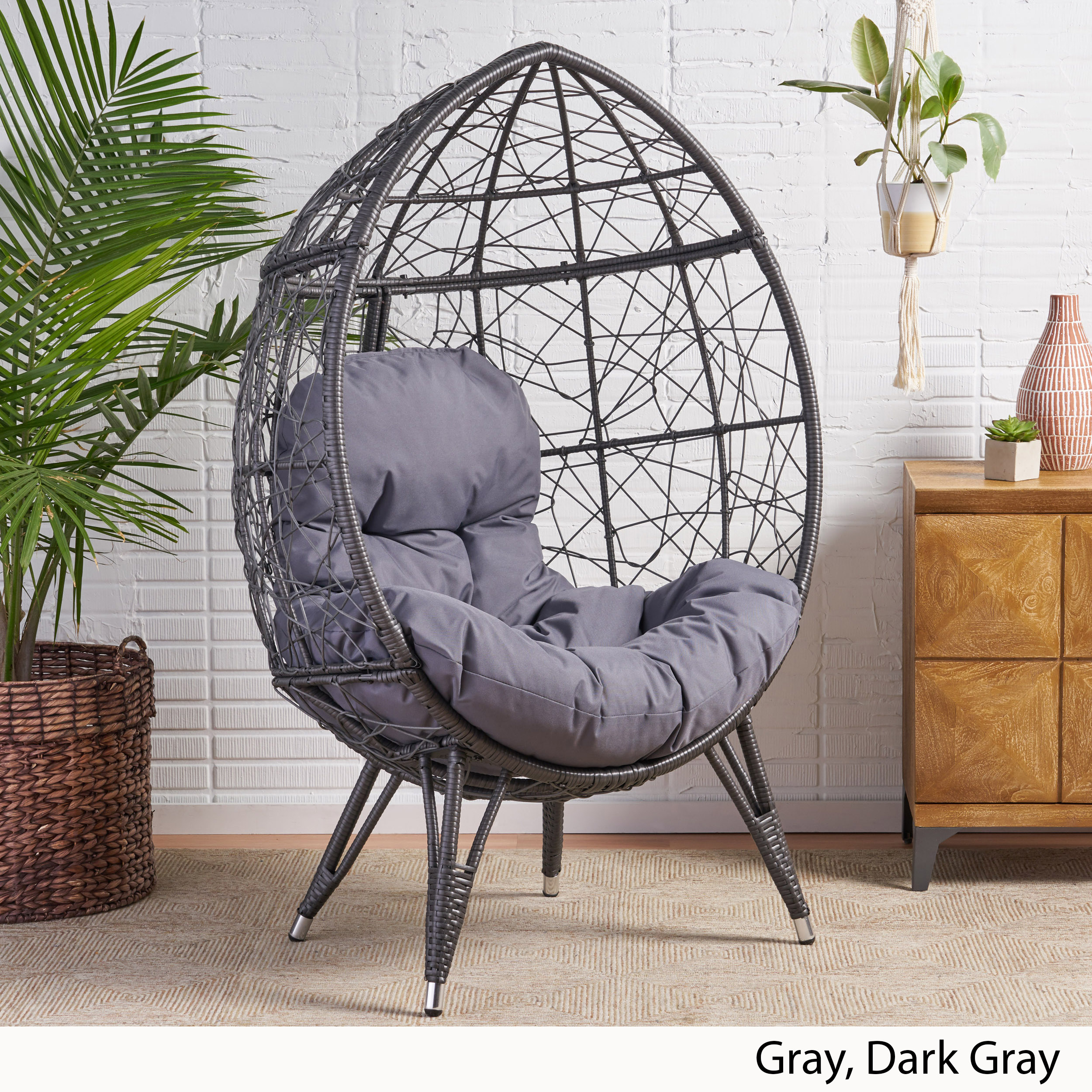 Picture of: Keondre Indoor Wicker Teardrop Chair With Cushion Ebay