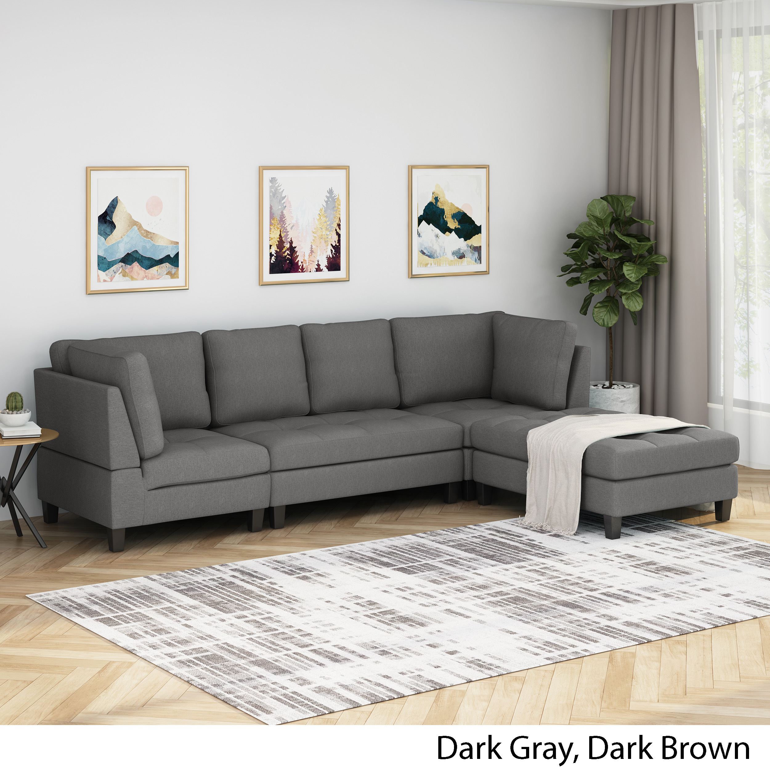 Details About Daylon Contemporary Fabric Sectional Sofa With Ottoman