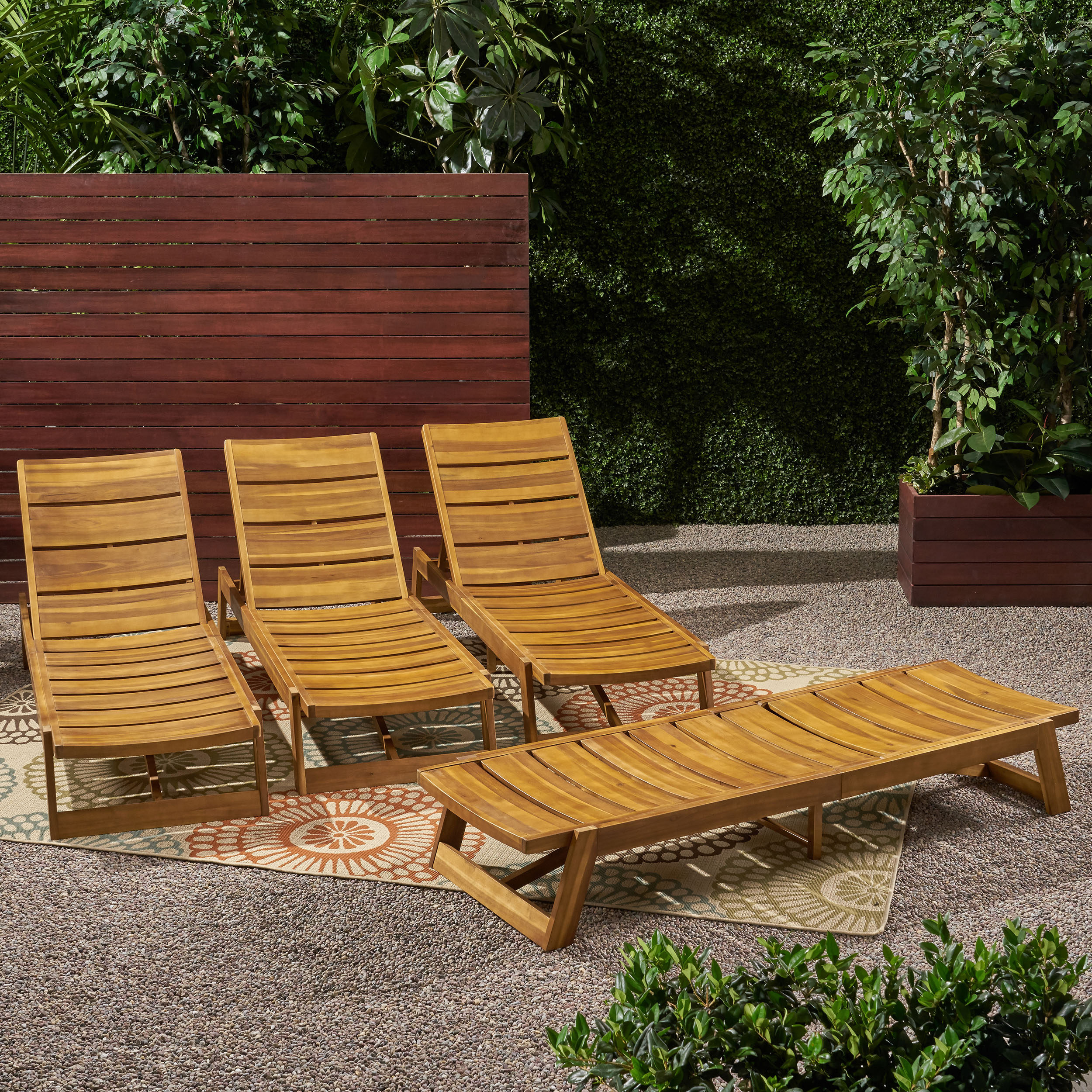 Groovy Details About Melissa Outdoor Acacia Wood Chaise Lounge Set Of 4 Lamtechconsult Wood Chair Design Ideas Lamtechconsultcom