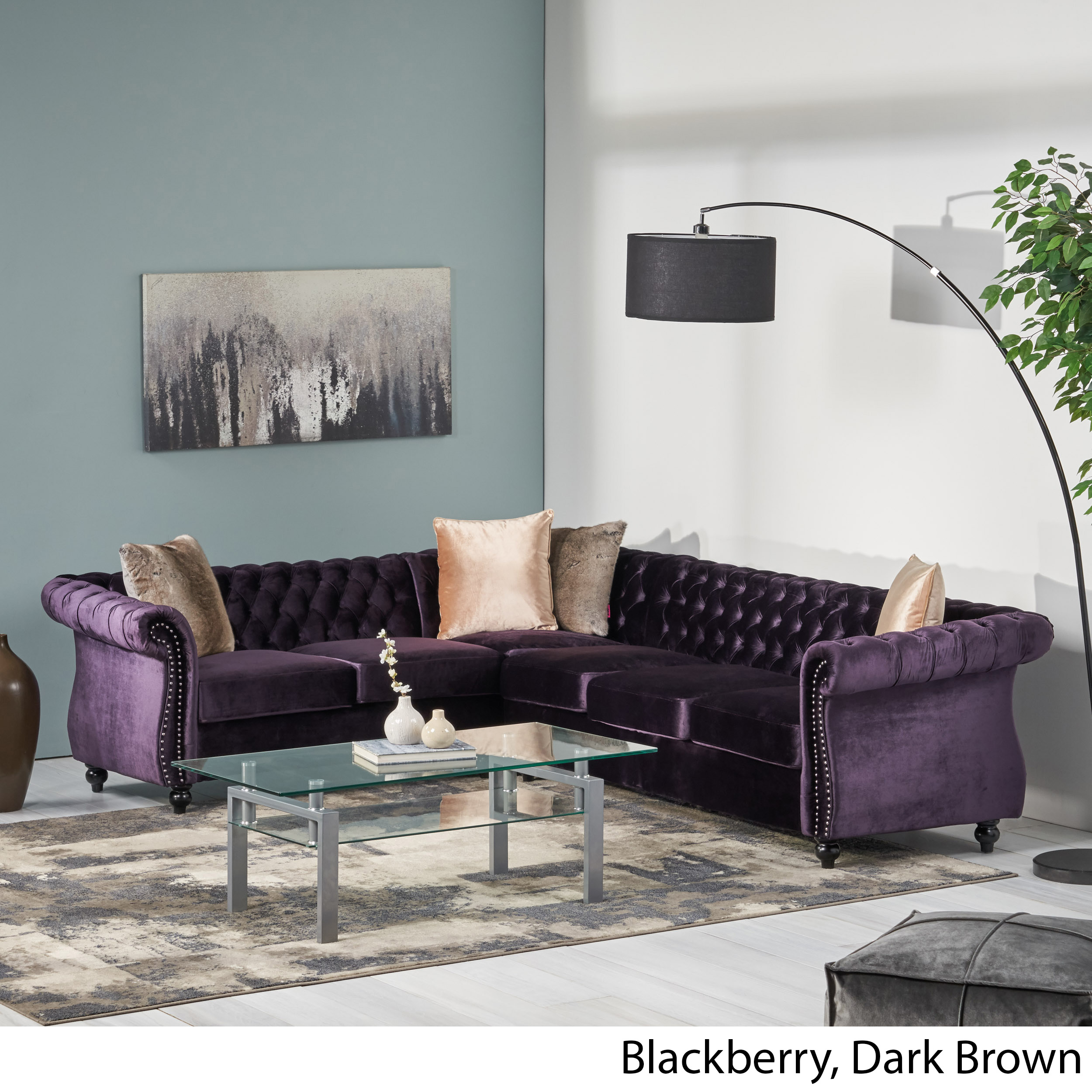 Amberside-6-Seater-Velvet-Tufted-Chesterfield-Sectional thumbnail 3
