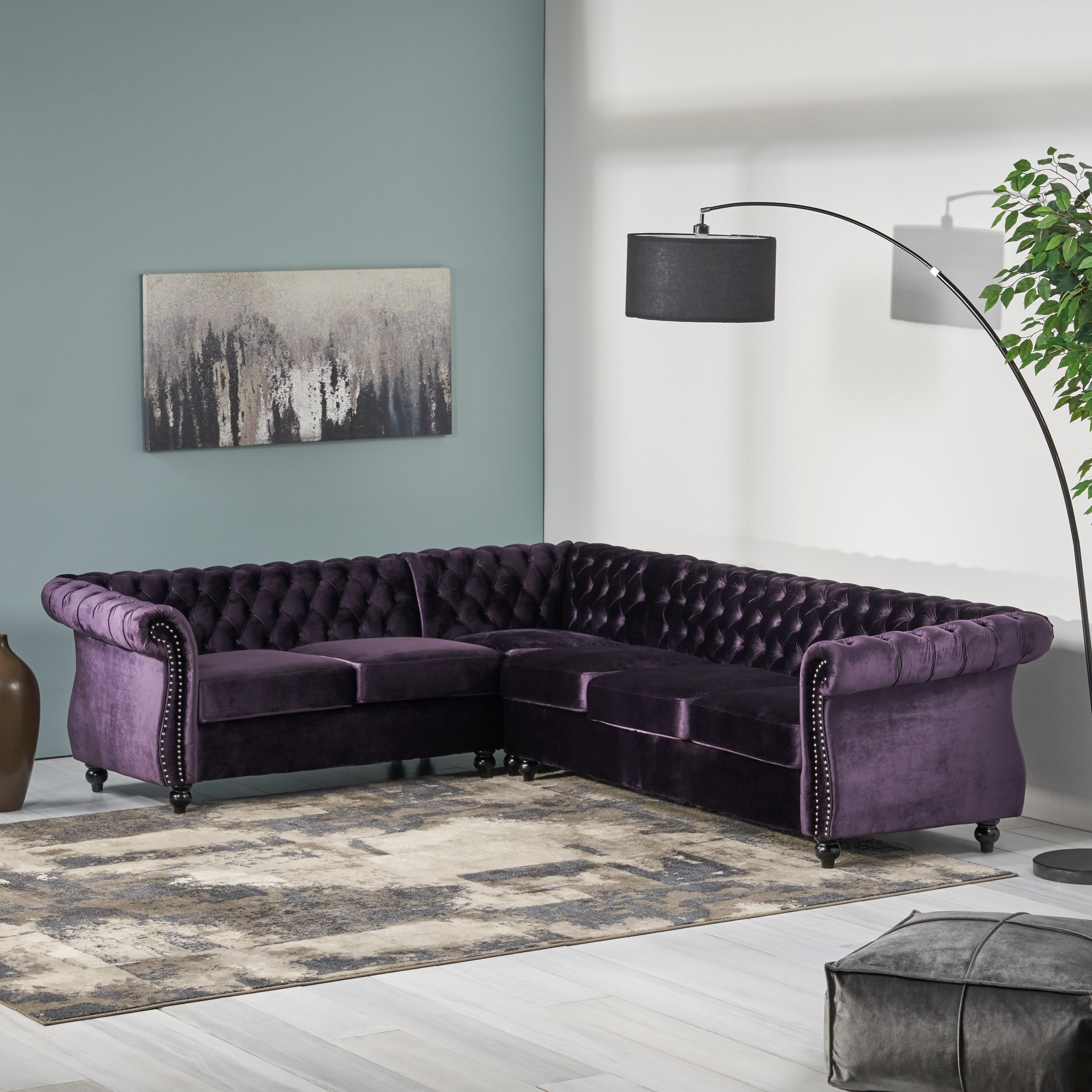Amberside-6-Seater-Velvet-Tufted-Chesterfield-Sectional thumbnail 4