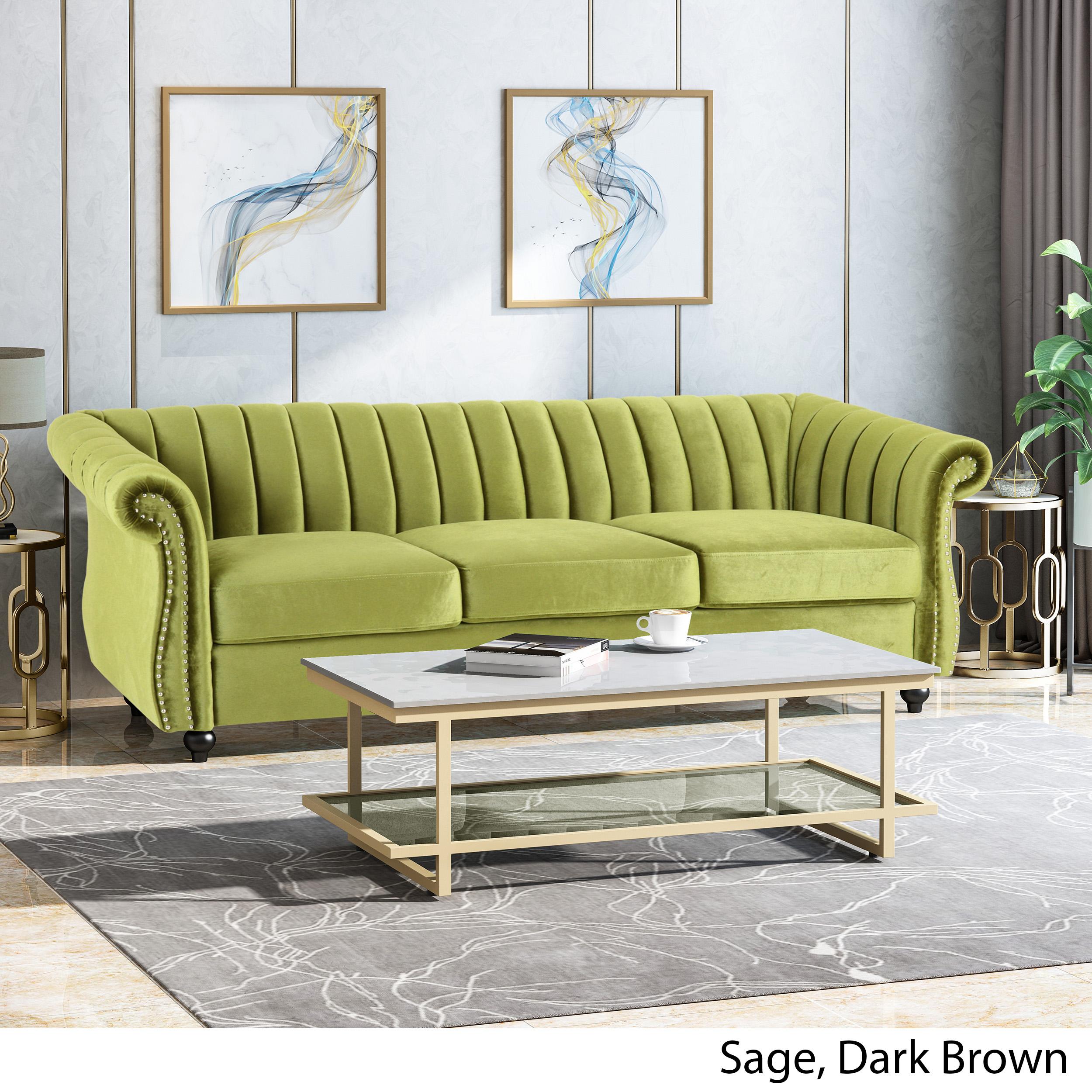 Olga Modern Glam Velvet 3 Seater Sofa Umber And Dark Brown Ebay