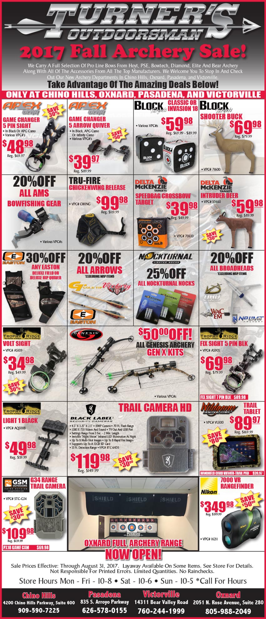 2017 Fall Archery Sale!