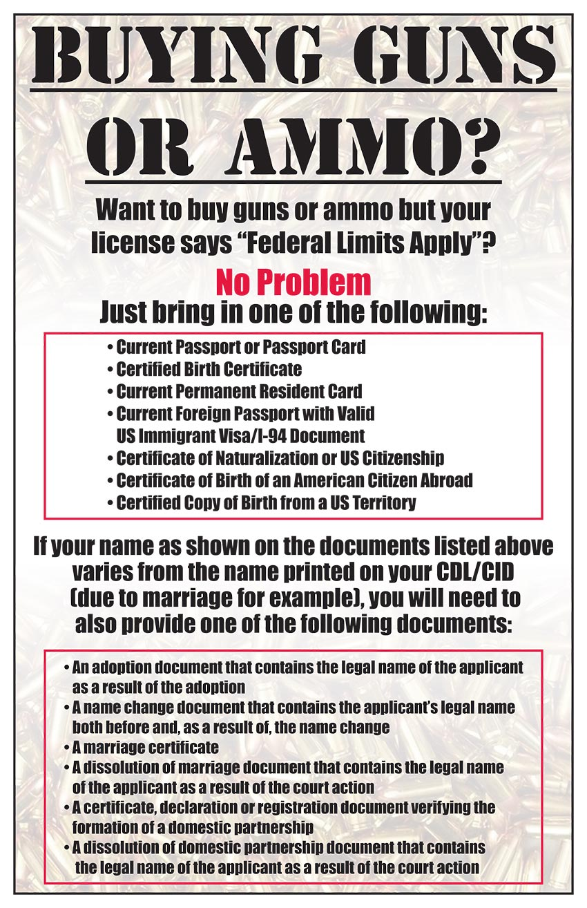 Can I buy a firearm or ammo if my California license says federal limits apply?