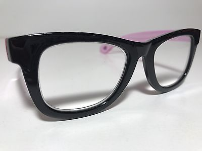Betsey-Johnson-Reading-Glasses-Black-Thick-Frame-Clear-Pink-_1