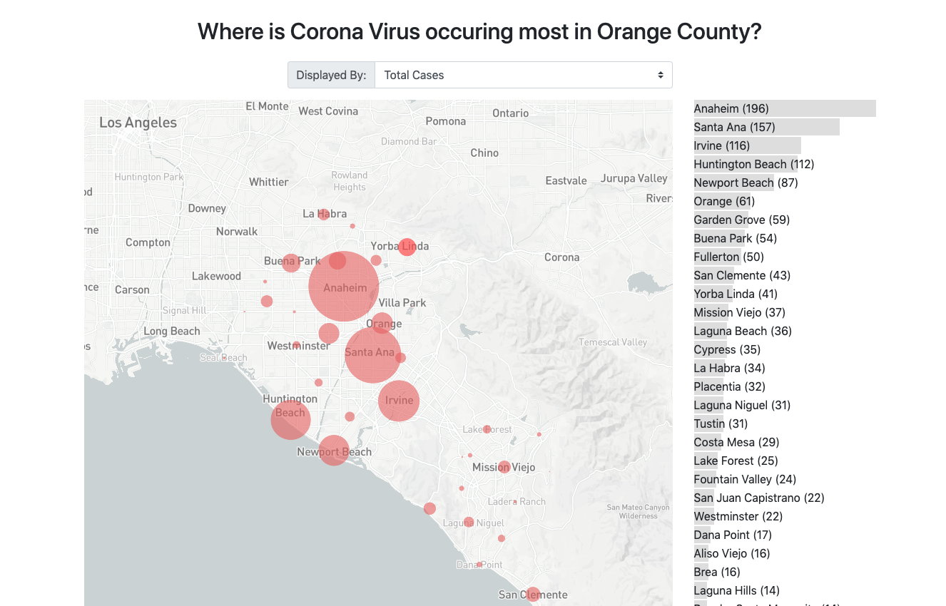 A map of Corona Virus in Orange County