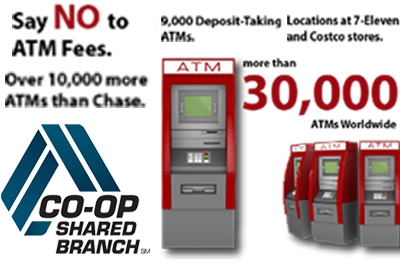 Say NO to ATM Fees: Over 10,000 more ATMs than Chase. 9,000 Deposit-Taking ATMs. Locations at 7-Eleven and Costco Stores.