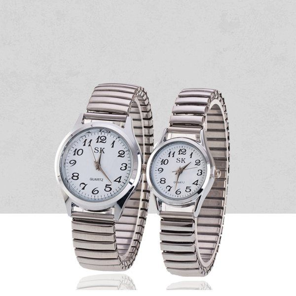e1d046d2937f Stainless Steel Stretchable Bracelet Couple Watch