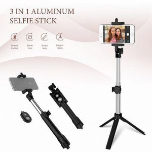 Zooni Handheld Mini Tripod Wireless Bluetooth Shutter Remote Controller Foldable Selfie Stick, Assorted Color