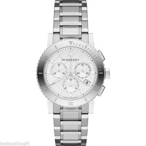 Burberry City Analog Quartz Stainless Steel Chronograph Silver Dial Womens Watch BU9700