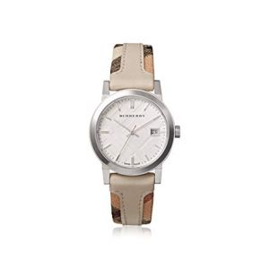 Burberry BU9132 Women's Swiss The City Haymarket Check and White Leather Strap Watch