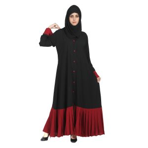 Imported Crepe Abaya - Black with Maroon
