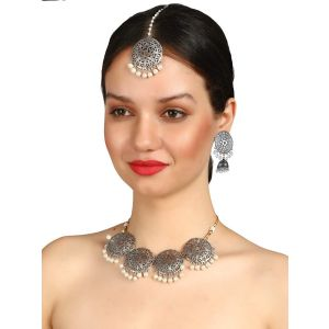 Mali Fionna Present Silver Oxidies Necklace Set & Earring with Tika Daily/Party Wear with Combo Peck Set for Women\Girls