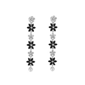Mali Fionnna Black Siliver-Plated Handcrafted Floral Drop Earrings