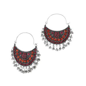 Mali Fionna Stone Pearl studed Afgani Meenakari Earrings