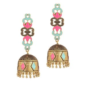 Mali Fionna Golden Oxidised Alloy Enamel Work Earrings